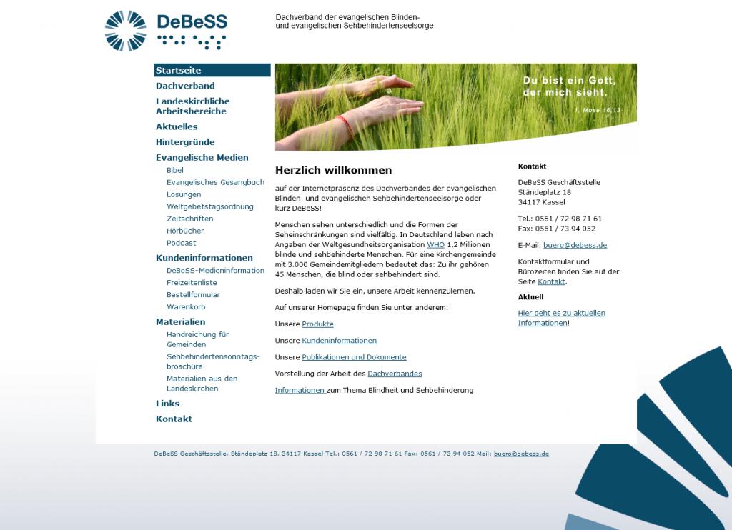 DeBeSS homepage screenshot