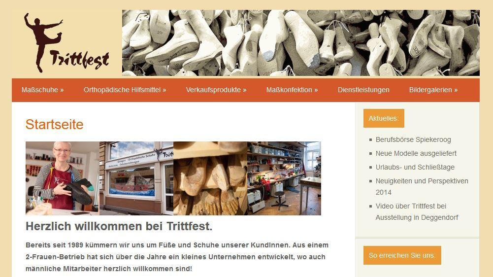 Trittfest Schuhe Homepage Bildschirmfoto